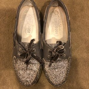Silver glitter sperry top siders size 10